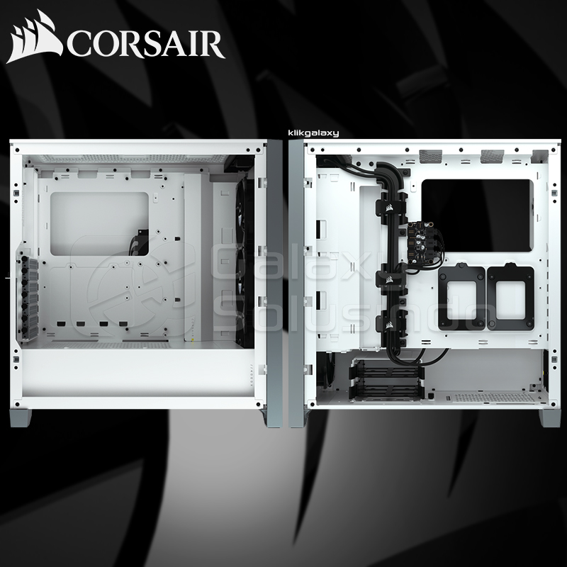 Corsair 4000X iCUE RGB Tempered Glass Mid-Tower ATX Gaming Case - White